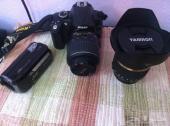 كاميرا نيكون D5000 مع عدسة 18-55 عدسة تامرون 10-24 عين السمكة Fish eye كاميرا فيديو JVC Everio