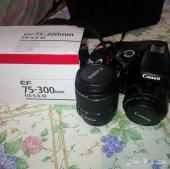 كاميرا كانون D1100 مع ثلاث عدسات بكامل اغراضها
