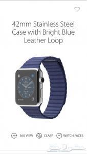 ساعة أبل Apple Watch (42 mm Stainless Steel Case With Bright Blue Leather Loop)