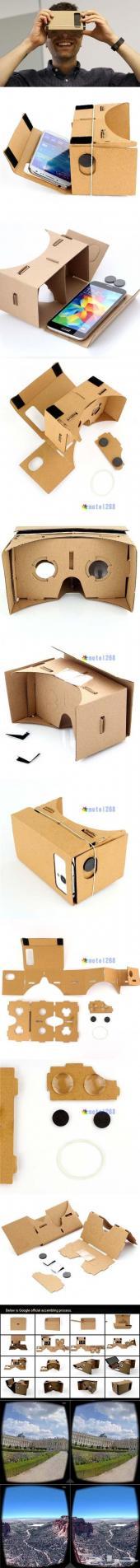 نظارة قوقل ثلاثية الأبعاد  Google Cardboard الأصلية مع شريط الرأس