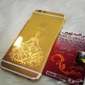 ايفونات 6و6اس و6بلس مطلية بالذهب بالضمان - ونقشها بالزخارف والاسماء ليزر قمة الدقة - وايفون بلاك ادي