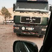 شاحنة مان مديل98 لبيع معها براد فرنسي للبيع لا مانع في بيع البراد لحاله او الراس لحاله